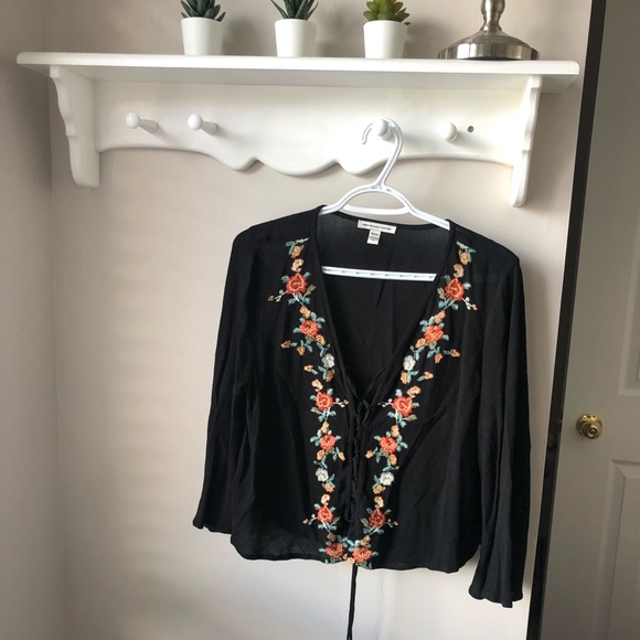 American Eagle Embroidered Tie-Up Blouse